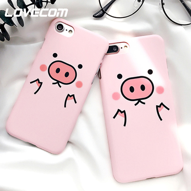 LOVECOM Porcos Dos Desenhos Animados Rosa Bonito Phone Case Para iPhone 5 Xs Max XR XS 5S SE 6 7 6 S 8 Plus X Matte Rígido Mobile Phone Bags & Casos