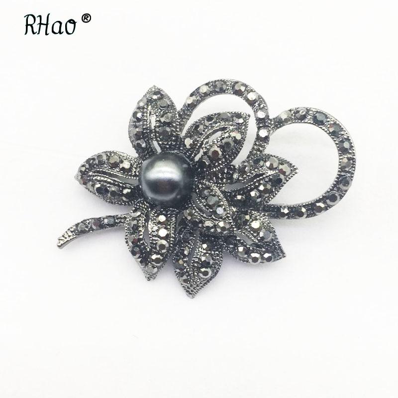 RHao rétro couleur noire double fleurs broche pleine strass plante corsage bijoux broches femmes hommes filles vêtements boucles hijab broches