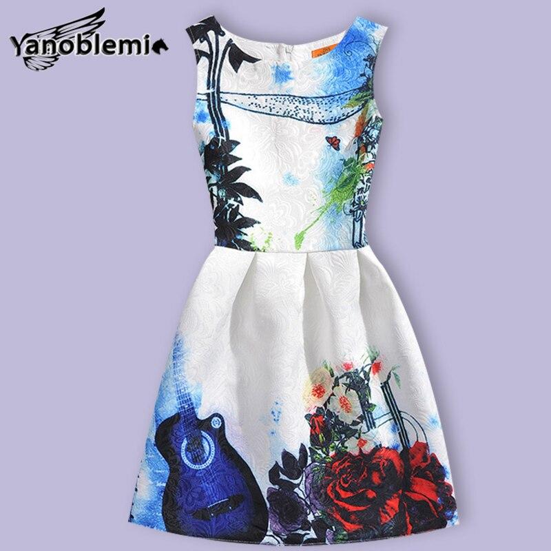 New Fashion Brand Girls Dress Baby Children Cute Butterfly Violin Floral Print Vest Dresses Kids Princess