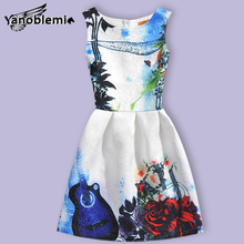 New Fashion Brand Girls Dress Baby Children Cute Butterfly Violin Floral Print Vest Dresses Kids Princess Casual Costumes