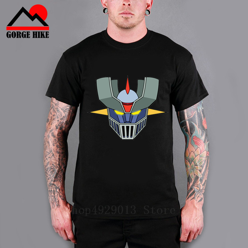 New Mazinger Z Cartoon T Shirt Funny T-Shirt Men Short Sleeve Black