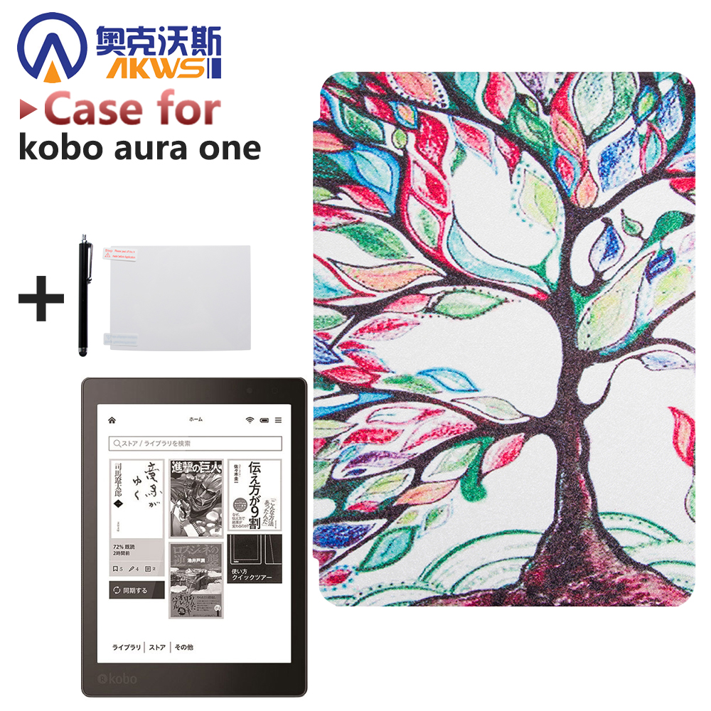 Print Pu Leather Case Flip Stand Cover for 2016 New Kobo Aura One 7.8'' Ereader + Screen Protector Film + Stylus aozipu funda case for kobo aura one 7 8inch ereader smart wake up pu leather case protective cover for kobo 7 8 tablet ebook