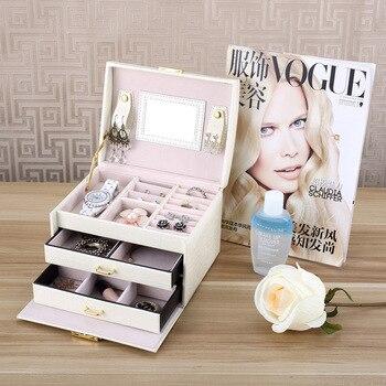 Rayure PU cuir bijoux emballage 3-couche Double tiroir boîte de maquillage pour les femmes anneau boucles d'oreilles collier boîtes de rangement bacs voyage
