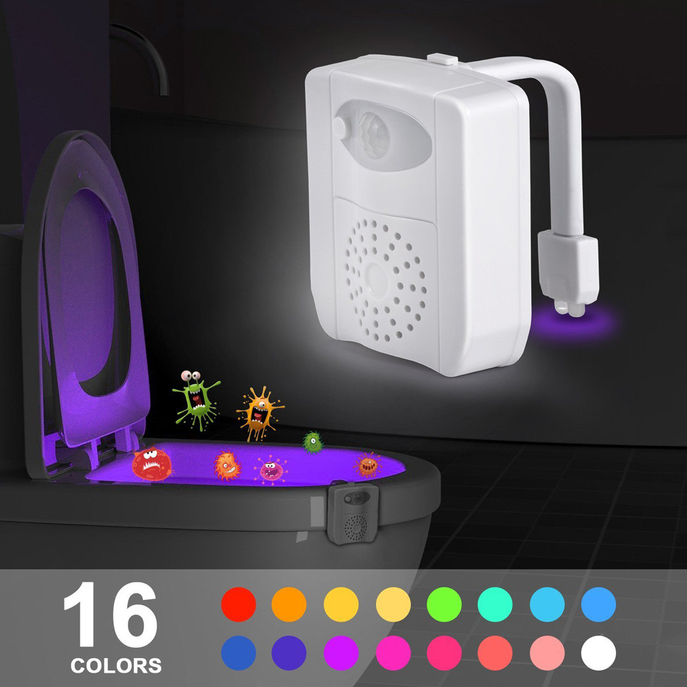 Body Sensing Automatic LED Motion Sensor Night Lamp Toilet Bowl Bathroom Light Wall Stickers for Toilet ...