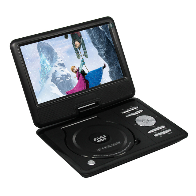 LONPOO Portable DVD Player 7 Inch Swivel Screen With Built In Rechargeable Battery