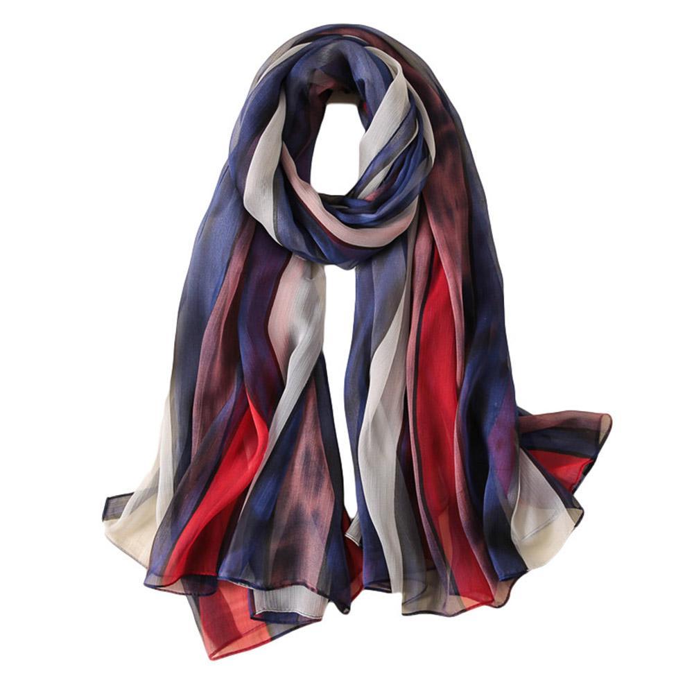Fashion Women Stripe Splicing Color Soft Thin Sunscreen Long   Scarf     Wrap   Shawl New