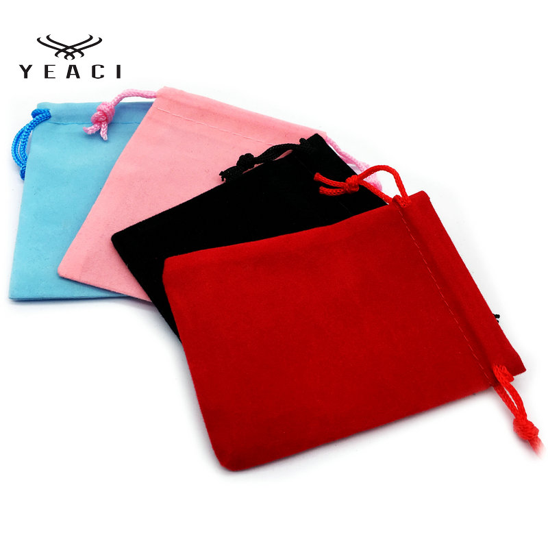 YEACI 100pcs 7x9cm Velvet Drawstring Pouch Bag/Jewelry Bag Christmas/Wedding Gift Bags Black Red Pink Blue 5 Color Wholesale