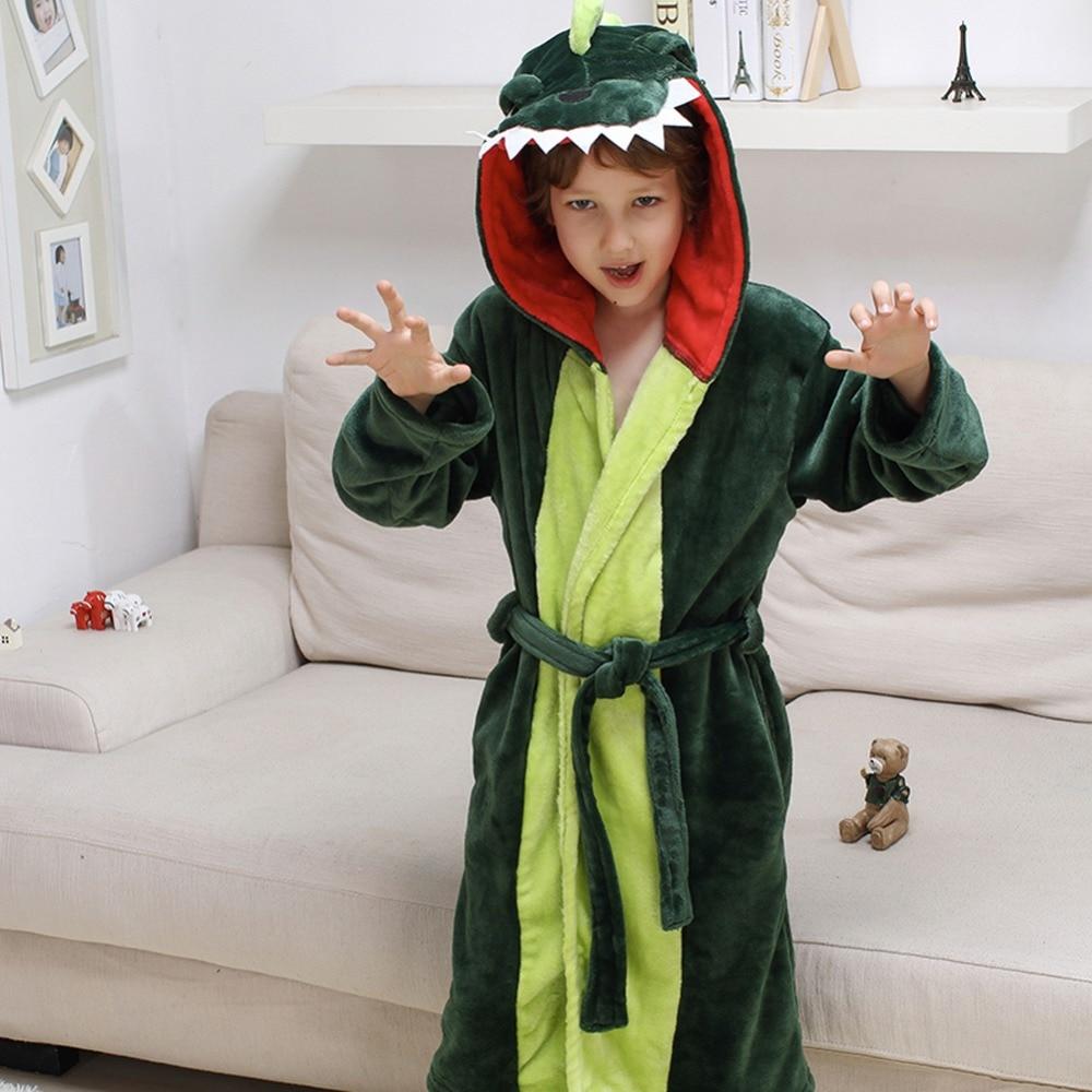 Girls Boys' Plush Hooded Bathrobe - Dinosaur Fleece Robe 3