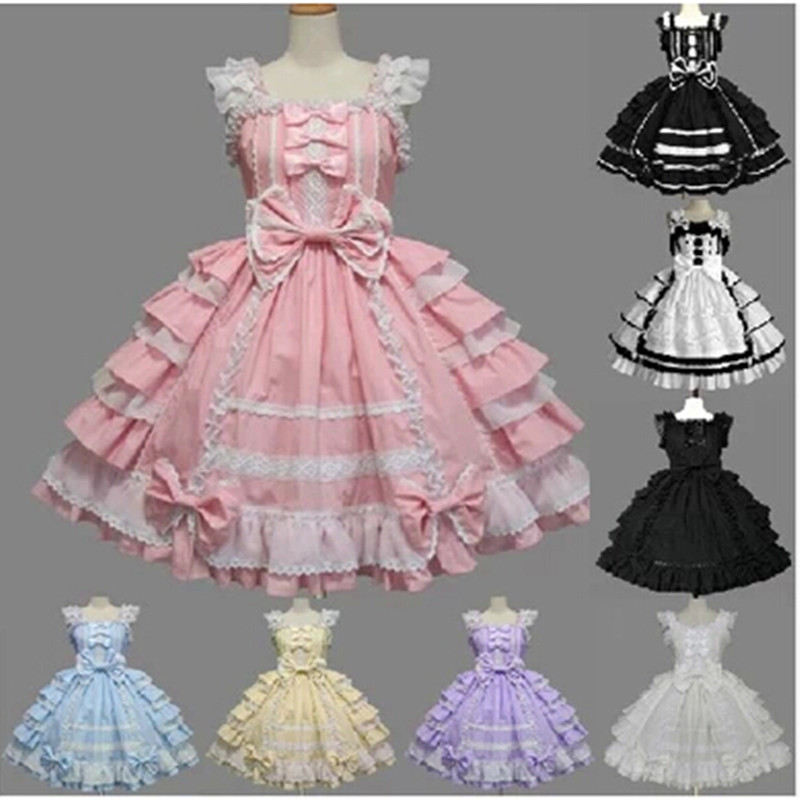 High Quality Women Summer Lolita Dress Chiffon Lace Medieval Gothic Dress Princess Cosplay dress Halloween Costumes For Girls