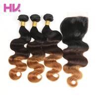 Hair Villa Ombre Brazilian Body Wave Hair Bundles With Closure 1b 4 30 4 4 Remy