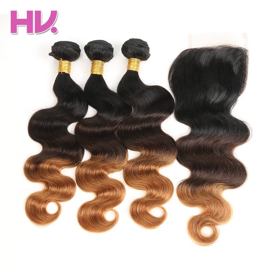 Hair Villa Ombre Brazil Body Wave Hair Bundles With Closure # 1b / - Rambut manusia (untuk hitam)