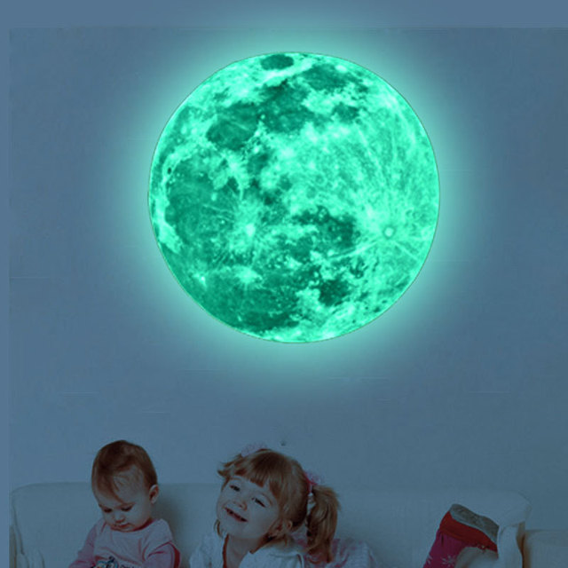 Super Luminous moon wallpaper luminous wall stickers luminous waterproof stickers children bedroom bedroom decoration mural