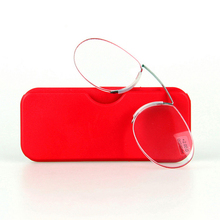 Mayitr 1pc Portable Pocket Nose Reading Glasses Clip Rimless On Wallet Mini Resting