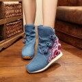 Invierno de Algodón Bordado Boots Wave Bordado Tela de Lona Suave de Las Mujeres de Invierno Cálido Botas Azul Negro Rojo SMYXHX-C0073