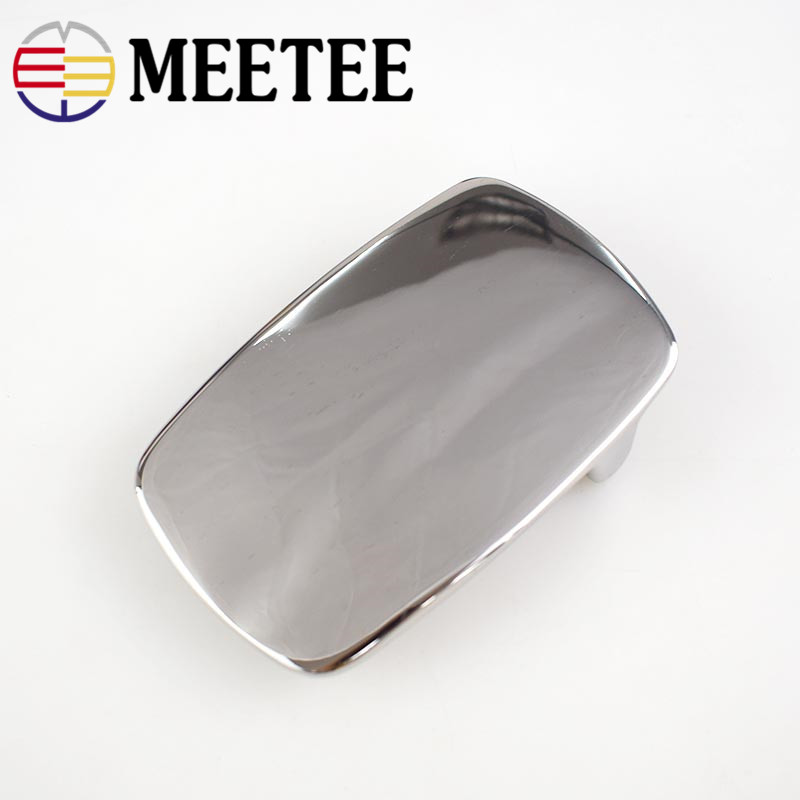 Meetee 79*49mm Solid Stainless Steel Belt Buckles Metal Cowboy Belt Head for Men Jeans 40mm Belt Leather Craft Accessories