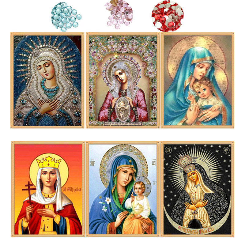 Diy Diamond Painting Cross Stitch 6 Picture Religion Icon 5d Diamond Embroidery Mosaic New Year Decoration Gift