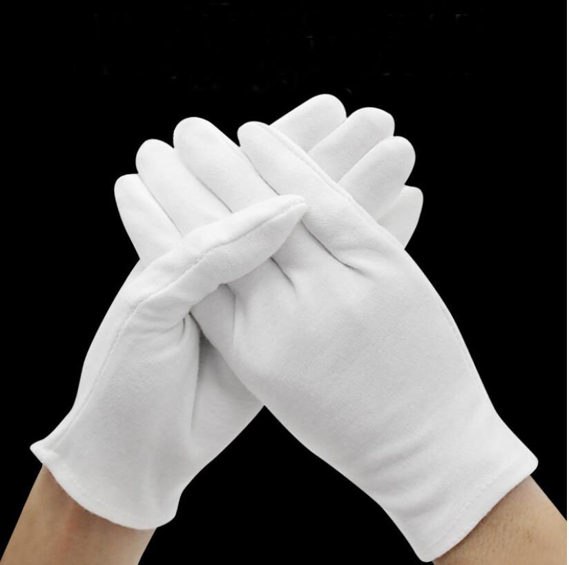 1pair White Labor Insurance Thick Cotton Work Cotton Cloth Thin Medium And Thick Etiquette Wenwan Quality Inspection Gloves(China)