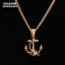 57abb015f139 CY   CM hombres mujeres Acero inoxidable Cruz ancla colgante oro Hip Hop  estilo titanio Metal collar cadena Punk joyería envío d.