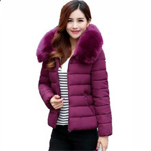 Winter Women Short Coat 2016 New Fashion Slim Super Warm Hooded Jacket Pure color Large size Fur Collar Women Jacket G2899