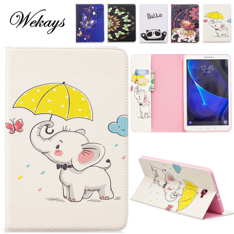 Wekays sFor Samsung Tab A6 10.1 Cartoon Elephant Case For Samsung Galaxy Tab A6 A 6 2016 10.1 T585 T580 T580N Tablet Cover Cases