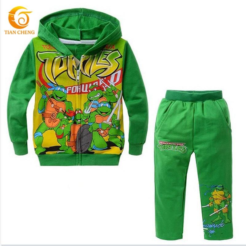 2016 NEW Boys Cartoon Character Long Sleeve Clothing Sets Kids Teenage Mutant Ninja Turtles Hooded Suits