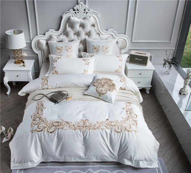 Queen King Size 100s Egyptian Cotton Luxury Purple White Bedding Set Golden Embroidery Boho Duvet Cover