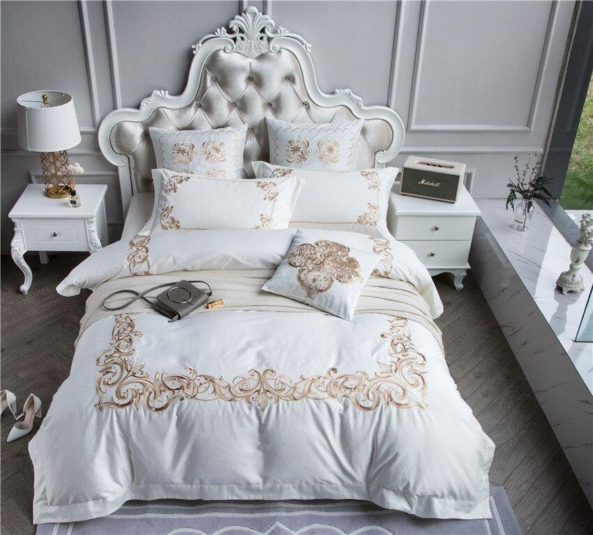 Queen size Rei 100 s Roxo Branco Jogo de cama de algodão Egípcio De Luxo Dourado Bordado Boho Cama capa de Edredão tampa de Cama conjunto de folhas