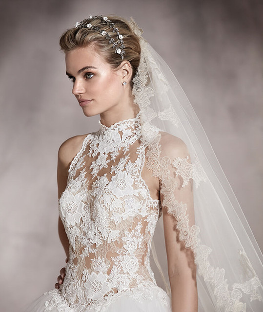 2017 Wedding Dress Beautiful White Ball Gown Lace Sheer Neckline ...