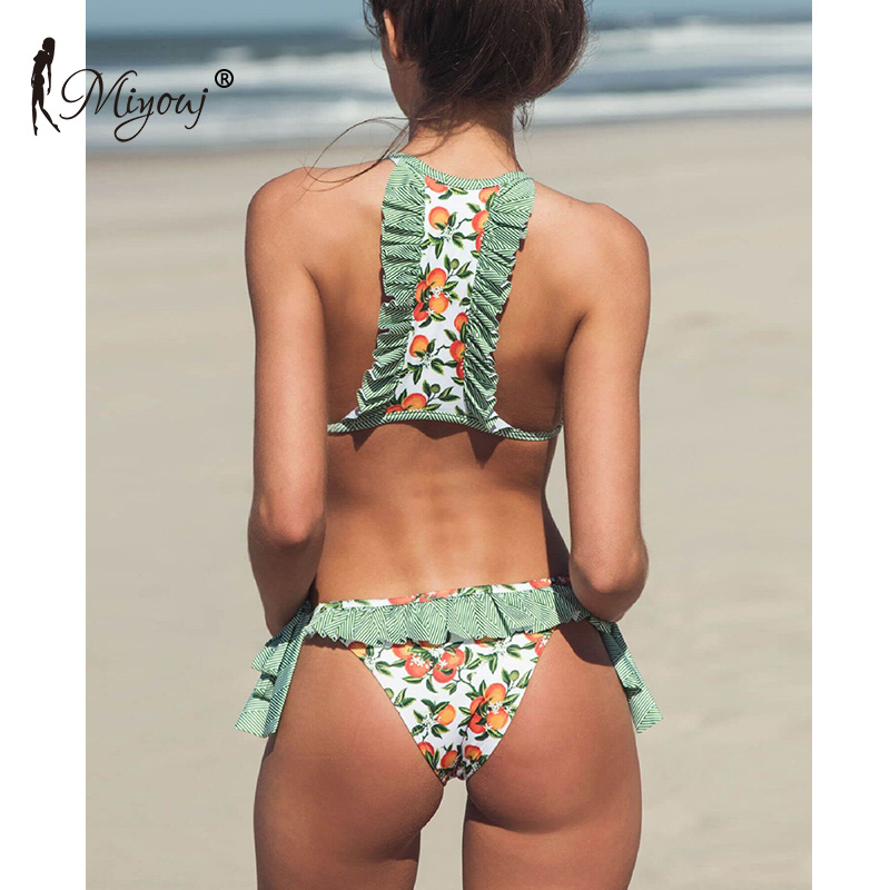 Bademode MIYOUJ Print Bandag Ruffle Push Up Sexy Bikini 2018 Female Swimwear Women Swimsuit Bathing Suit Swim Bikini Set Biquini Bathers