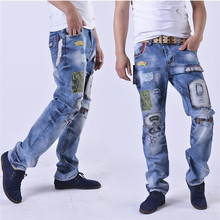 2015 NEW Appliques Hole Denim Pants Hip Hop Mens Fashion Jeans Men  Biker Ripped Jeans
