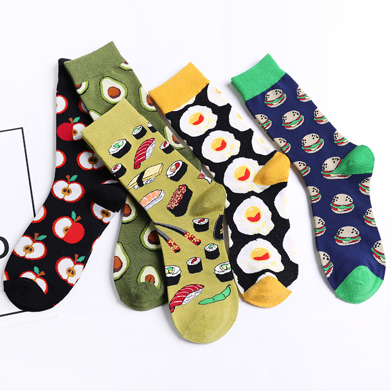 5 Pairs/pack Happy Socks Avocado Sushi Omelette Burger Apple Fruit Food Funny Cotton Socks Women Long Socks Winter Unisex Female