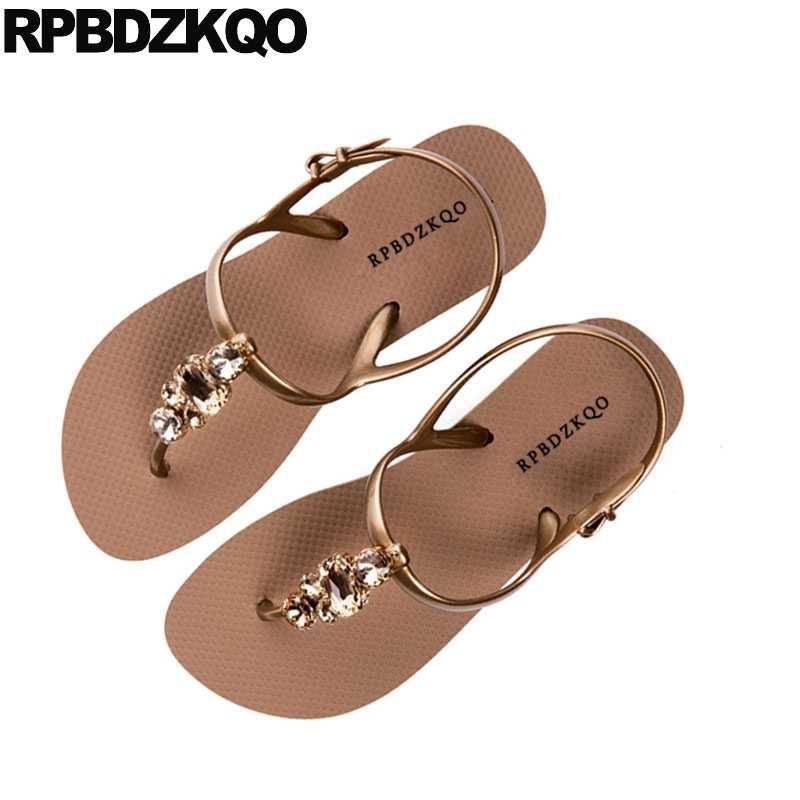 75f6fc989b435 Jewel T Strap Beach Diamond Holiday 2018 Thong Women Shoes Sandals Leisure  Fashion Bohemia Style Rhinestone