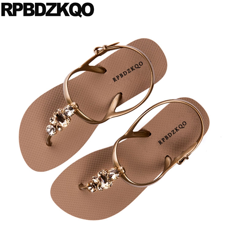 8c26a182f6e6b8 Detail Feedback Questions about Jewel T Strap Beach Diamond Holiday 2018 Thong  Women Shoes Sandals Leisure Fashion Bohemia Style Rhinestone Gold Slingback  ...