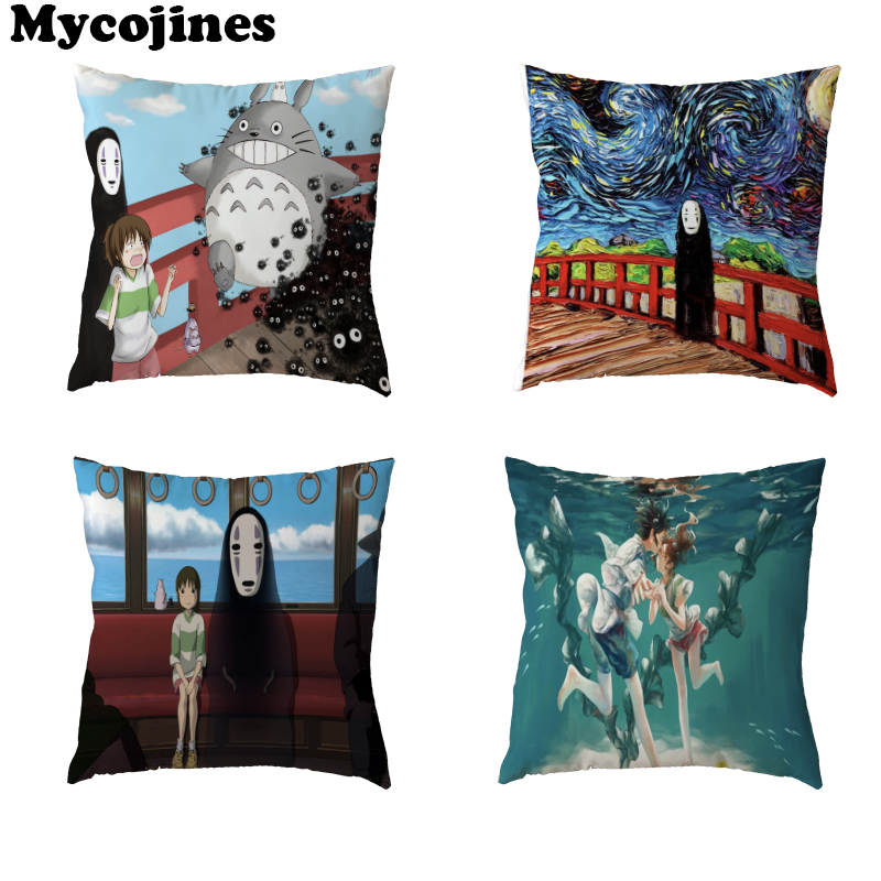 High Quality Cushion Cover Spirited Away Pig Black Boy Totoro Home Bedroom Sofa Decor Kids Gift Polyester Peach Skin Pillowcases