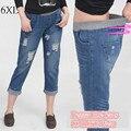 6 EXTRA GRANDE Plus Size calças de Brim das Mulheres de Cintura Alta Calça Jeans Buraco Mendigo Versão Feminina Casuais Sete Calças Jeans Reta Elástica Calça Jeans de cintura