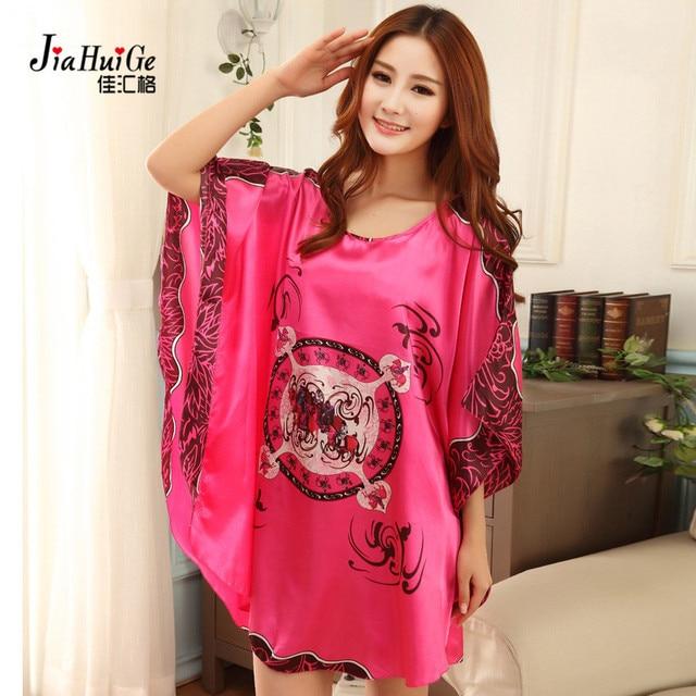 57d7f0aadb JiaHuiGe Nightgowns Sleepshirts Women Night Dress Plus Size Sleepwear Faux  Silk Ladies Big Size Sleepshirts Summer Nightgowns