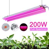 New LED Grow Lights 200W Full Spectrum Growing Lamp 50cm Double tube for Greenhouse Hydroponic Indoor Plant Seedling US/EU Plug