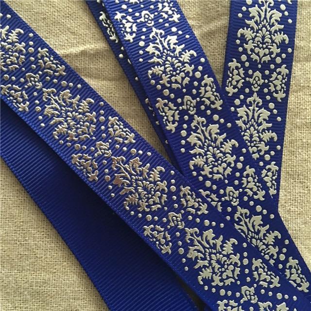 5 Yard 22mm Grosgrain Ribbon Printed Metallic Silver Flower Swirl Motif royal  blue DIY 1207 NEW addc970c7589
