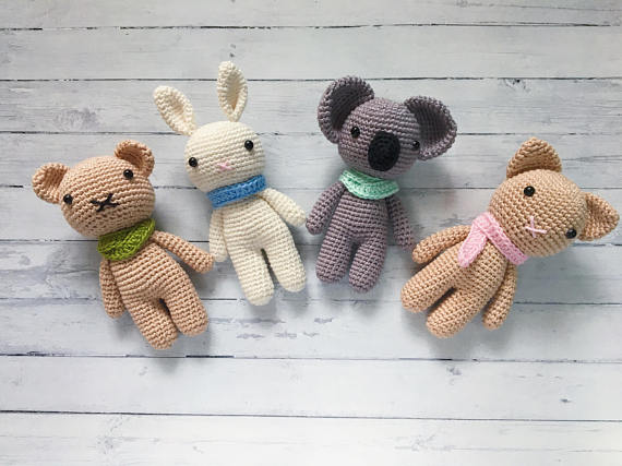 Amigurumi Crochet Small Animal Koala Rabbit Bear And Cat 4pieces  Stuffed Rattle Toy Baby Gift