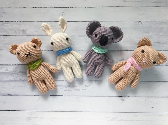Amigurumi Crochet Small Animal Koala Rabbit Bear And Cat 4pieces  Stuffed Rattle Toy Baby Gift