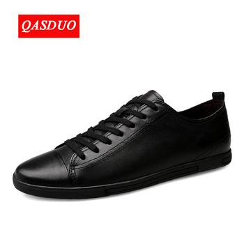 QASDUO prawdziwej skóry buty w stylu casual moda męskie buty oddychające wygodne męskie buty z prawdziwej skóry sznurowane mokasyny rozmiar 36 ~ 47 tanie i dobre opinie Skóra bydlęca Gumowe Podstawowe Oddychająca Wodoodporna Masaż Lace-up SOI-025 Wiosna jesień Stałe Pasuje prawda na wymiar weź swój normalny rozmiar