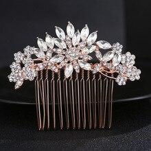 Le Liin невесты гребень для волос с кристаллами золотые свадебные головные уборы, Свадебные прически Аксессуары для невесты украшения для волос
