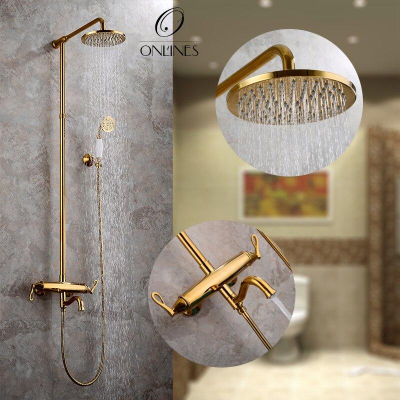 German online European antique gold bathroom double rain shower wall ...