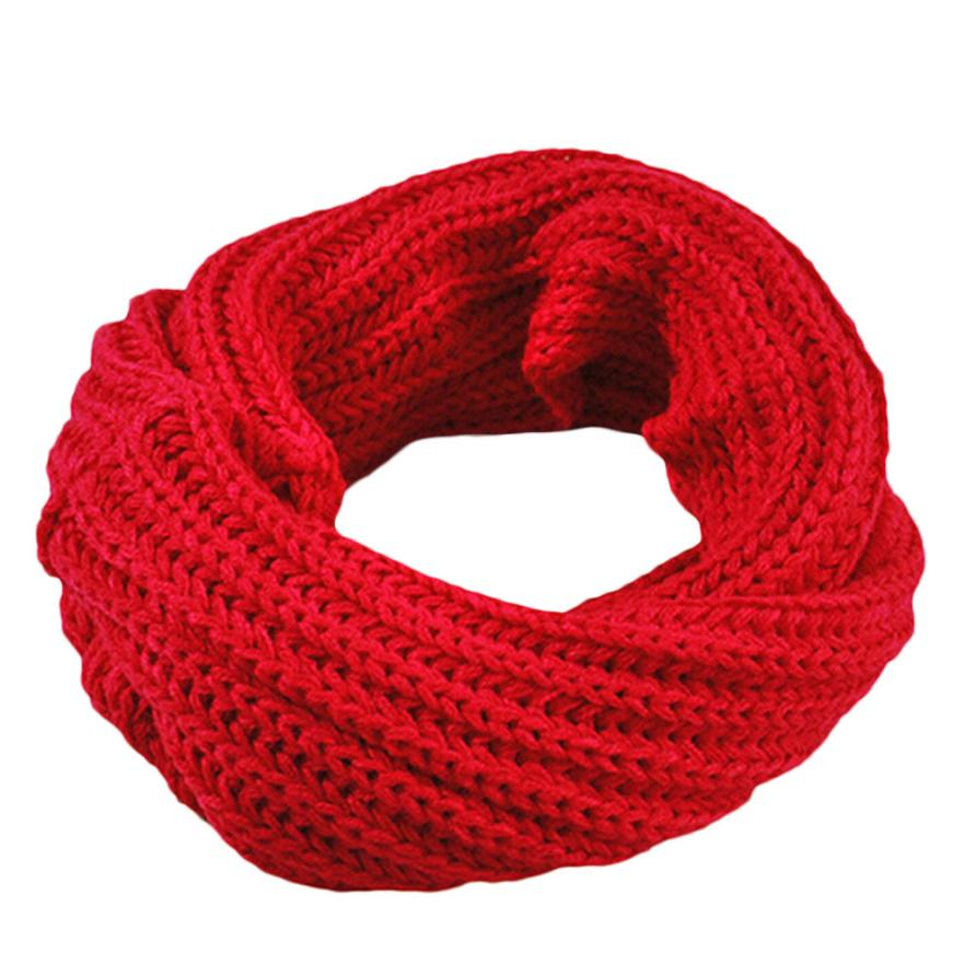 Осенне-зимний вязаный шерстяной шарф-шаль для мальчиков и девочек, теплый зимний шарф с воротником, Прямая поставка - Цвет: Red