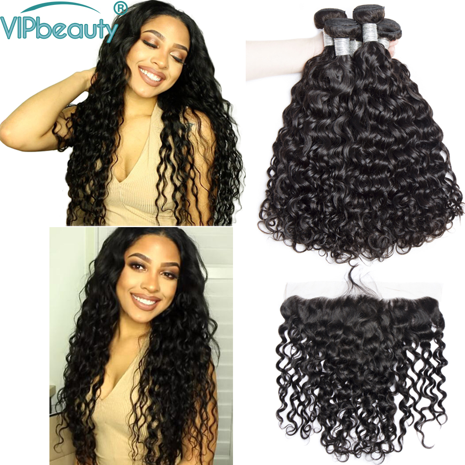 VIP beauty Indian water wave 3 bundles with 13x4 lace frontal closure 100 human hair weave