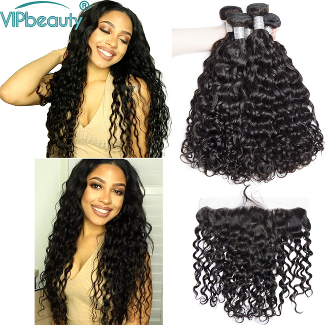 VIP beauty Indian water wave 3 bundles with 13x4 lace frontal closure df40c898d