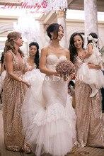 WDZ-194 Long Gold Sequin Prom Bling Evening Quinceanera Bridesmaid Dress Robe Demoiselle D'honneur Dresses