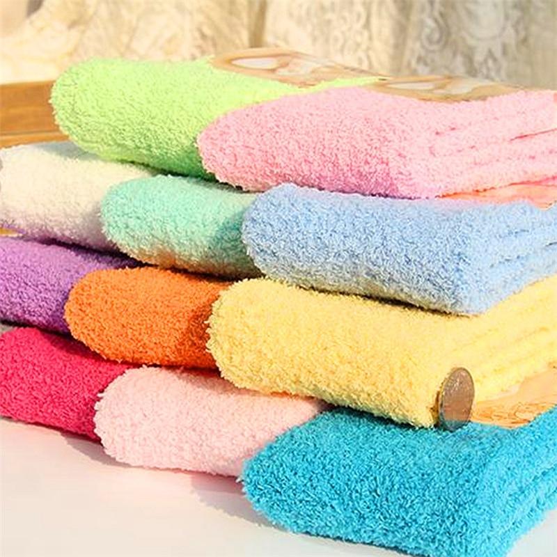Женские носки, осенне-зимние теплые махровые тянущиеся короткие носки-тапочки, однотонное полотенце