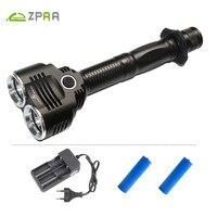 ZPAA 2 * XML T6 LED Chiến Thuật Đèn Pin Cứng Ánh Sáng Mạnh Mẽ DẪN Chiếu Sáng Ngoài Trời 18650 Không Thấm Nước Torch Lantern Camping Hunting