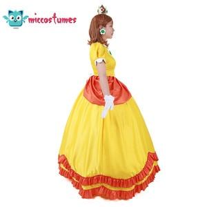 Image 3 - Vestido longo amarelo da princesa daisy, fantasia, mulher, vestido longo